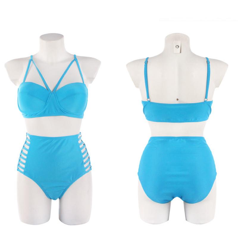 FLYMALL New Sexy Bikinis Women Swimwear Solid Fold High Waisted Bikinis Set Plus Size Swimwear Bathing Suit Biquini 3XL O20 12