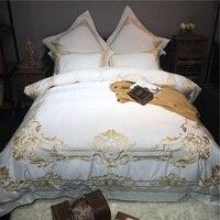 White Luxury Golden Embroidery 80S Egyptian Cotton 4/6pcs Court Royal Bedding Set Duvet Cover Bed sheet Bed Linen Pillowcases