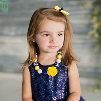 2015 New Baby Yellow Rose Flower Chunky Beads Necklace Girls Toddler Bubblegum Necklace Kids Jewelry 1pcs