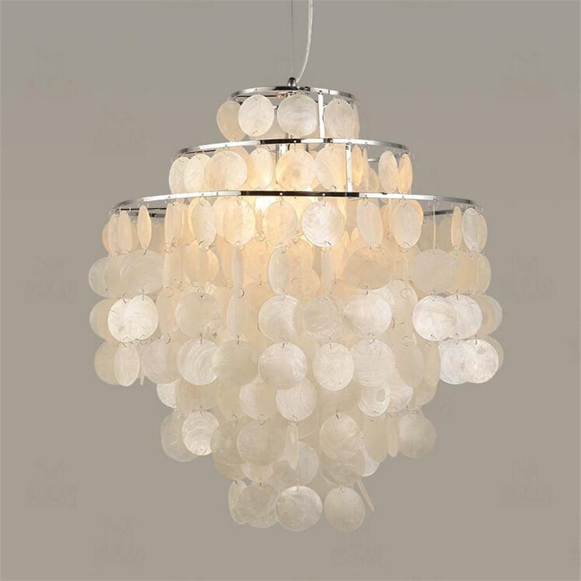 Modern Nordic Seashell Pendant Lights White Shell Hanging Lighting fixture E27 Lights 3 Layer DIY Pendant Lamp for Home Decor