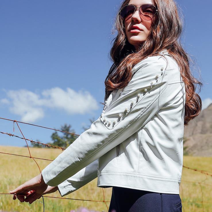 New Autumn Fashion Women's Short Washed PU   Leather   Jacket Zipper Beading Ladies Basic Jackets Good Quality 175750