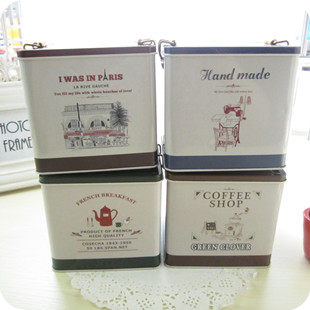 Square coffee metal storage case food storage box trinket tin box tea box