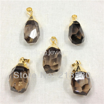 H-SQ02 Faceted Crystal Smoki Quartz Water Drop Pendant with Gold or Silver Color Approx 35mm