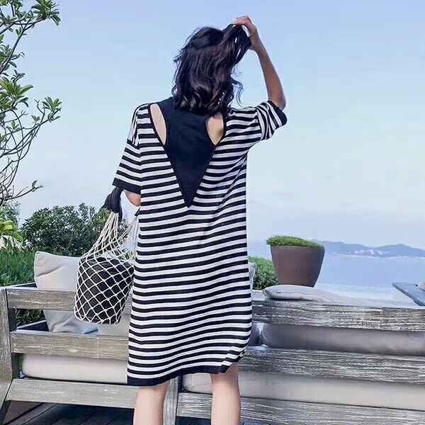 0f9a8debf5 2019 Summer Dresses Korean Style Patchwork Striped Backless Short Sleeve  Knitted Dress Fringe Dress Blue Black