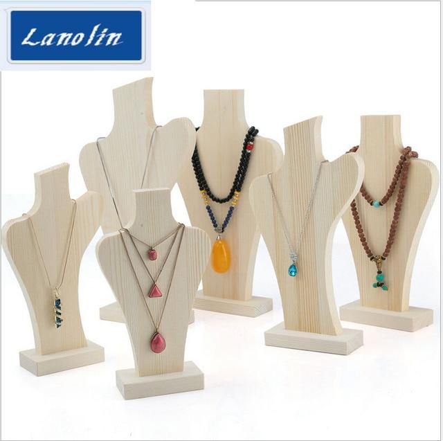 Wood Necklace Display Holder For Jewelry Stand Showcase Shelf Storage Six