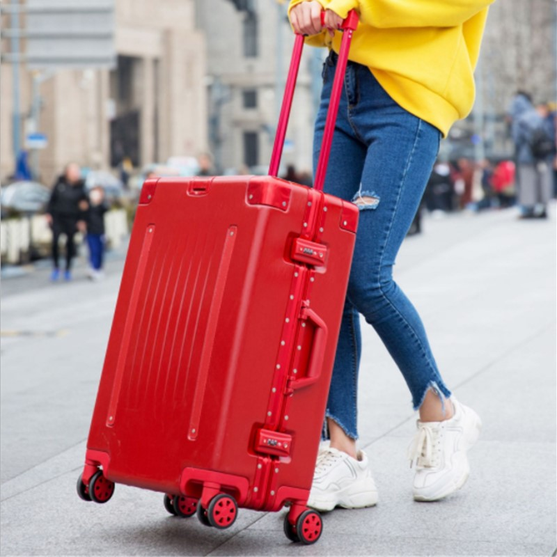 2019 New Belt Aluminum Frame Trolley Case Pull Rod Suitcase 20/24/26/29 Inch Vintage Travel Suitcase ABS+PC Luggage Pull Rod Box