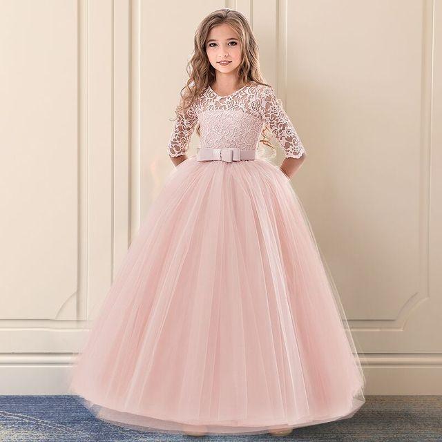 Дети невесты кружевное платье для девочек для свадьбы и праздника Платья вечерние Рождество девушка длинный костюм принцессы детские фантазии 6 14Y