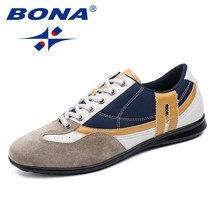 444e721d1 BONA Novo Estilo de Moda Homens Sapatos Casuais Rendas Até Sapatos  Masculinos Mocassins Homens Populares Confortável
