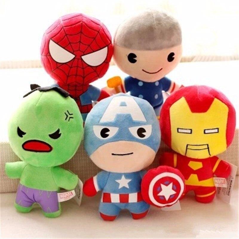 The Avengers Captain America Iron Man Spiderman Hulk Thor Plush Toys Kawaii Stuffed Soft Toys Superhero Plush Dolls Peluches