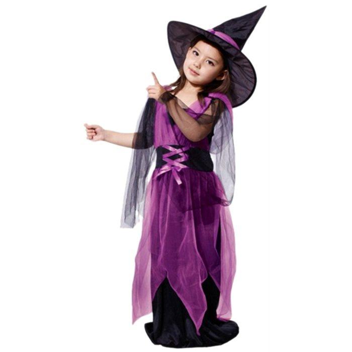 Children's performance suits children's costumes Halloween costumes witch performance costumes Light purple