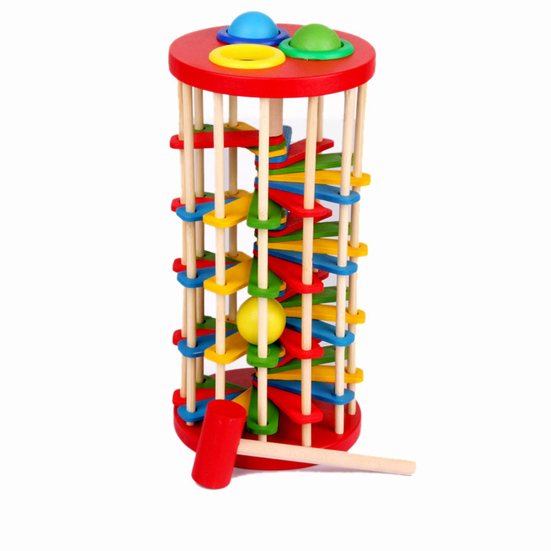 Montessori Toys Educational Wooden Toys for Children Early Learning Caterpillar Eats Roll Wood Tower with Hammer Knock