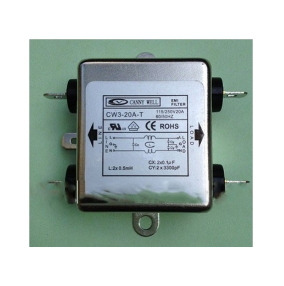 CW3-20A-T  110-250V 20A AC EMI power filter Single Phase  Electrical Equipment  cw15e 06a t emi power supply filter 110 250v 6a ac electrical equipment adapters power supplies