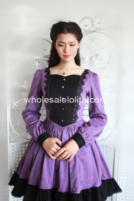 Nouveau Pourpre et Noir Gothique Lolita Dress Lolita Canal Balle Robe 6XL Pour Vente Thé Partie Robes