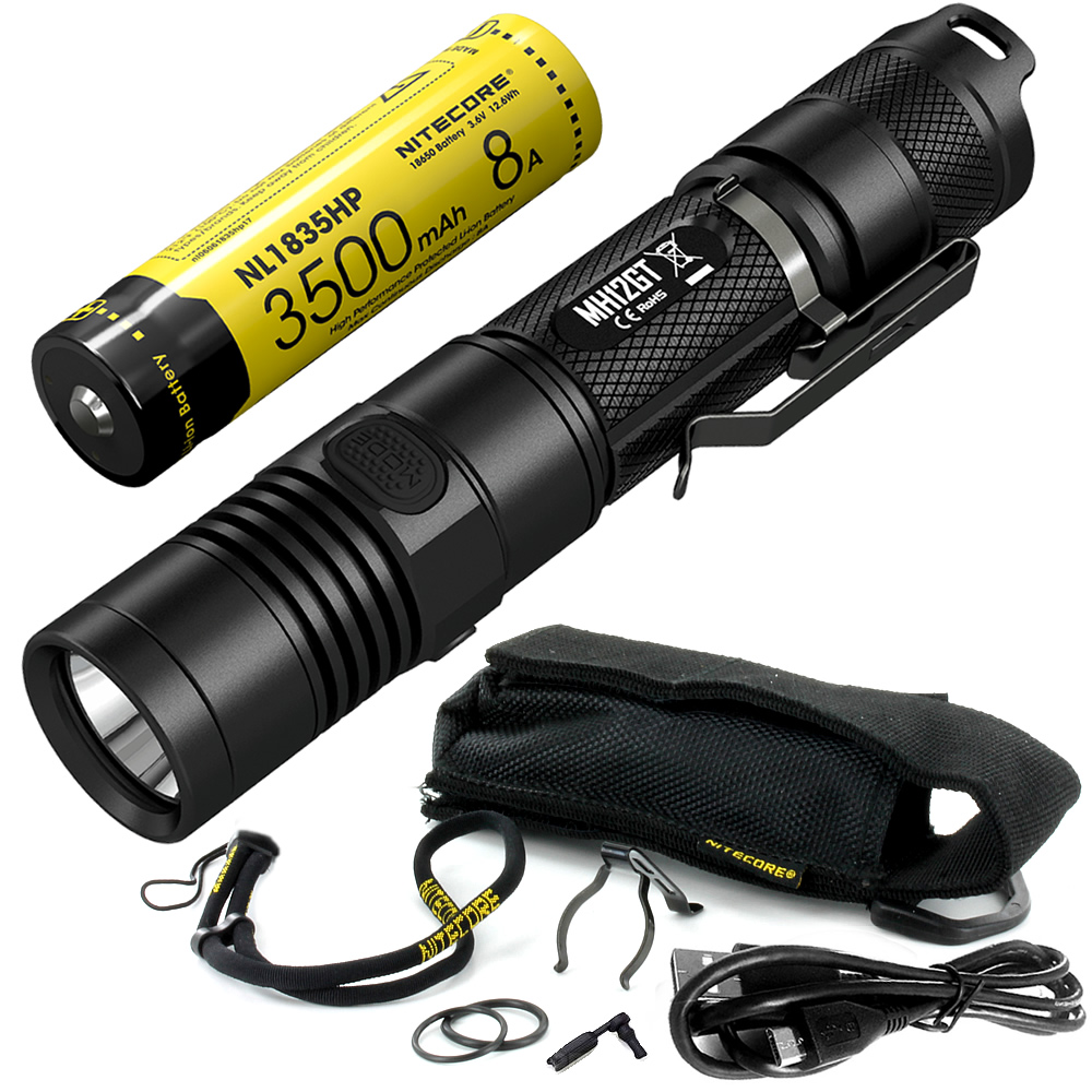 SALE NITECORE 1000 Lumens MH12GT + 18650 Battery USB Rechargeable Flashlight Outdoor Search Rescue Portable Torchs Free Shipping