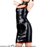 Черный с красной отделкой сексуальное платье из латекса с Laing на шеи молнии спереди резиновая форма Playsuit Bodycon LYQ 0075