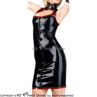 Black With Red Trims Sexy Latex Dress With Laing On Neck Zipper Front Rubber Uniform Playsuit Bodycon LYQ 0075