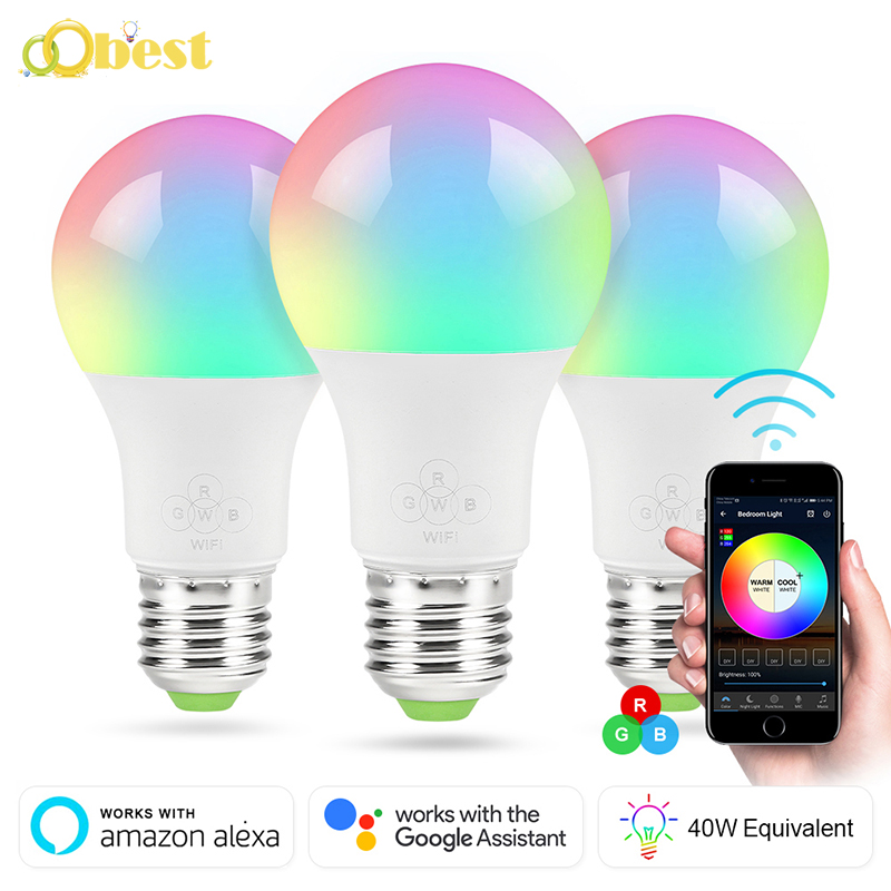wifi smart light bulb dimmable multicolor wake up lights no hub required magic light compatible. Black Bedroom Furniture Sets. Home Design Ideas