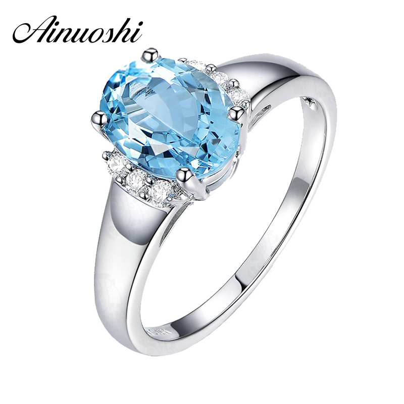 AINUOSHI Classic 4 Prongs 925 Sterling Silver Solitaire Ring Light Blue Natural Topaz 3 Carats Oval Cut Engagement Ring Jewely dmx 512 controller 192 dmx controller for stage lighting 512 dmx console dj controller equipment