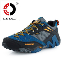 LEOCI Cow Leather Men Hiking Shoes High Quality Zapatillas Outdoor Hombre Anti-Skid Climbing Mountain Shoes Sneakers Size 40-45