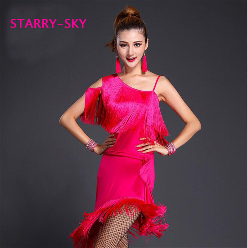 2016 High Quality Lady Sexy Tassel Latin Dance Dress Fringes Dance Costumes For Women Off Shoulder Tango Latina Salsa Dresses
