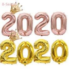 8-Season 2020 New Year Celebration 2019 Christmas Decorations Number Foil Balloons Graduation Party Kits