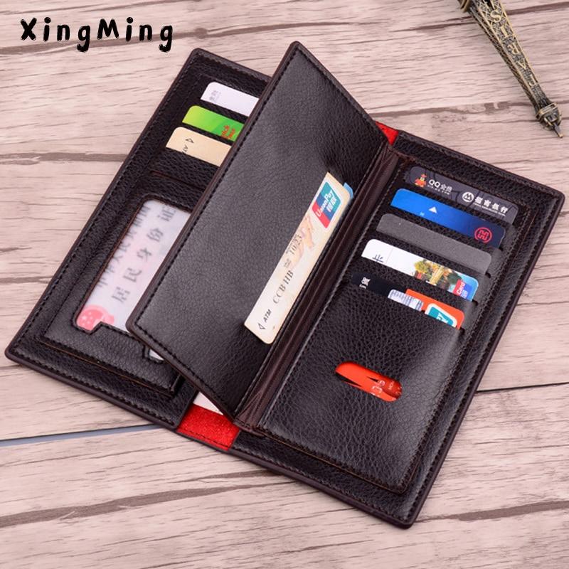 Men PU Leather Long Clutch Wallet Business Men Cards Holder Purse Brown Black Male Fashion Pocket Wallet Coin Bag Purse Billfold