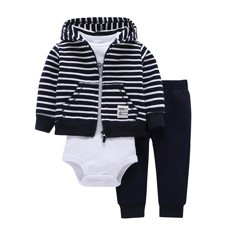 baby boy girl clothes 100% cotton bebes Baby Clothing Three-piece normal Size Bodysuit & Pants Set kids Cardigan clothes sets