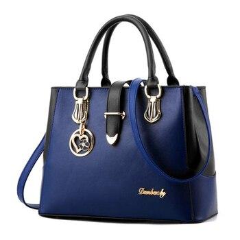 Blue Leather handbag tote