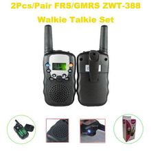 Free Shipping Hot Sales 0.5Watt FRS/GMRS LCD Dispalying ZWT-388 Walkie Talkie Set (2pcs/ pair) with Built-in Flashlight