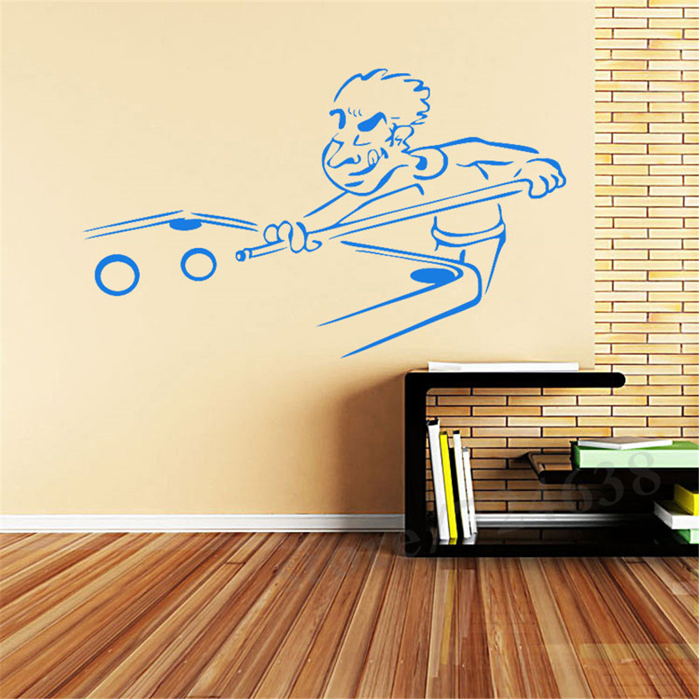 Funny Billiard Cut Sports Snooker Cartoon Wall Stickers For Children Art Vinyl Stickers Home Decoration Living Room Bedroom-in Wall Stickers from Home ...