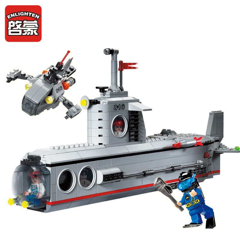 816 ENLIGHTEN Military Submarine Deep Sea Adventure Model Building Blocks DIY Action Figure Toys For Children Compatible Legoe enlighten building blocks military cruiser model building blocks girls