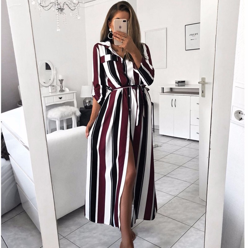 BEFORW 2018 moda de botón Collar de encaje vestido de Camisa larga de las mujeres de otoño e invierno de manga larga de rayas Maxi vestidos Vestido
