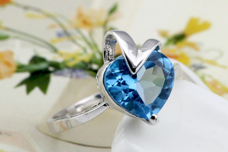 2017 Jewelry Qi Xuan_Blue Stone Heart Rings_Finger Rings_S925 Solid Silver Fashion Blue Stone Ring_Manufacturer Directly Sales 2017 Jewelry Qi Xuan_Blue Stone Heart Rings_Finger Rings_S925 Solid Silver Fashion Blue Stone Ring_Manufacturer Directly Sales