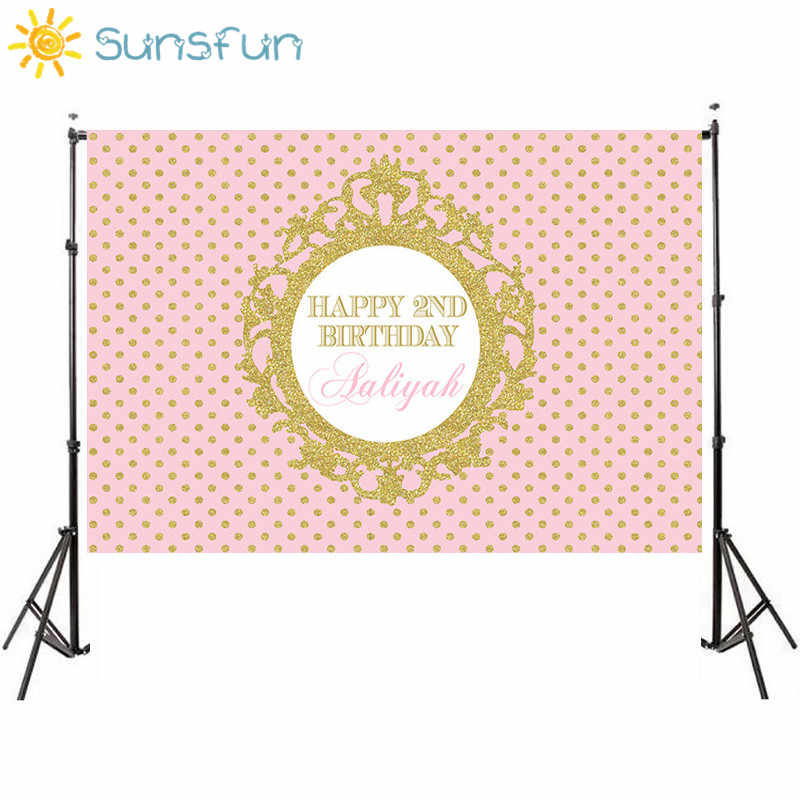 Sunsfun 7x5FT Pink Gold Glitter Birthday Invitation Celebration Party Princess Table Dessert Background 220cm X