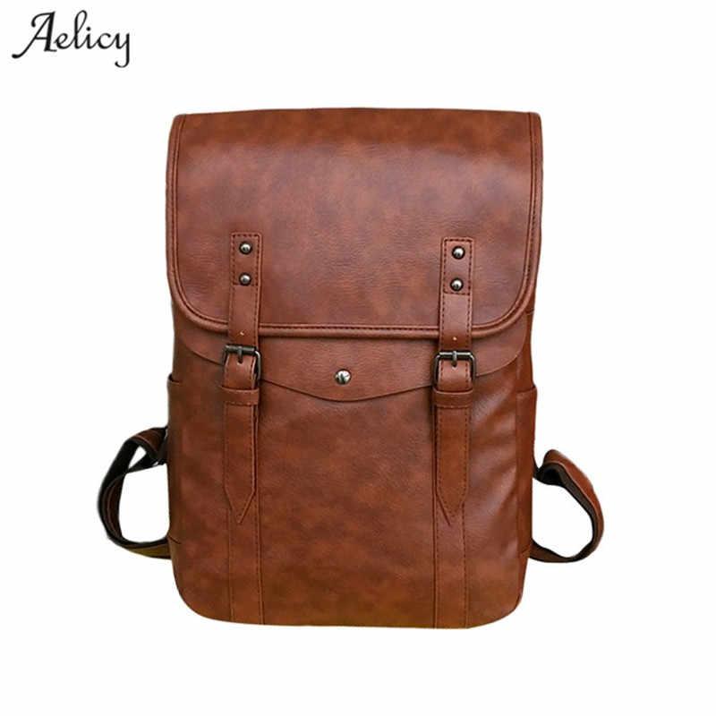 feb76ebfa12 Aelicy MEN Backpack Unisex Computer Travel Student Bag Large Capacity Leather  women Backpack mochila feminina 2019