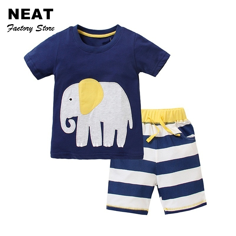 Retail Kids Clothes Set Summer Casual Boys Clothing Sets Children T-shirt+Short Pants Sport Suit for Boy Outfits Neat JB228 Mix