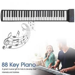 88 teclas usb midi rolo acima do piano eletrônico portátil silicone teclado flexível órgão com sustentação pedal apoio win xp vista win7