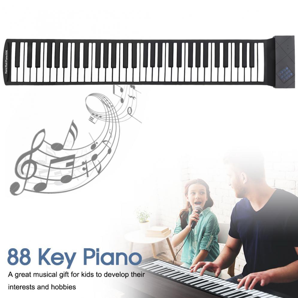 88 touches USB MIDI retrousser Piano électronique Portable Silicone Flexible clavier orgue avec soutien de la pédale de soutien WIN XP VISTA WIN7
