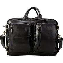 Man Multi-Function Crazy Horse Genuine Leather Brand Backpack Travel Bag 2018Mens Luggage Vintage  shoulder Black