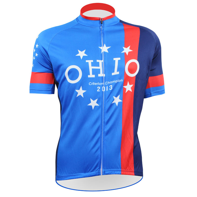 ФОТО 17 OHIO State Flag Pattern Summer Bicycle Clothing Men 100%Polyester 2017 Sleeve Blue Cycling Jersey Size XS-5XL