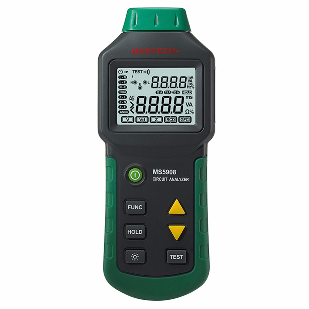 все цены на  MASTECH MS5908 Circuit Analyzer AC Low Voltage Distribution Line Fault Tester RCD GFCI Sockets Testing  онлайн