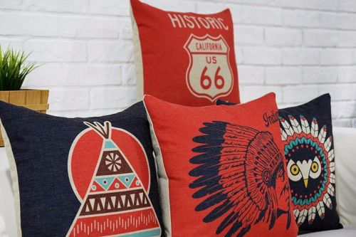 Native American Indian Cushion Cover Pillow Case Linen Indian Owl Magnificent Native American Decorative Pillows