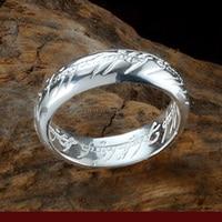 LOTR Anel Ampliou engrossado 925 Anel de Noivado de Casamento Anel de Prata Das Mulheres Da Menina Presentes da Esposa com Corrente