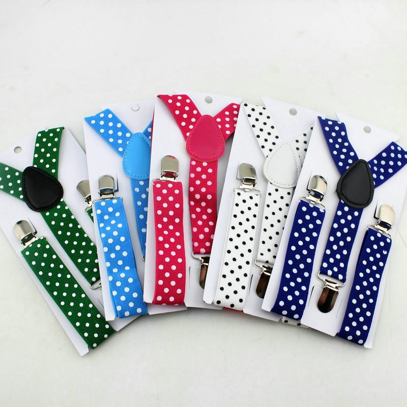 Painstaking New Unisex Boy Girl 3 Clip On Polka Dot Suspenders Fashion Elastic Adjustable Children Braces Easy To Repair Men's Accessories