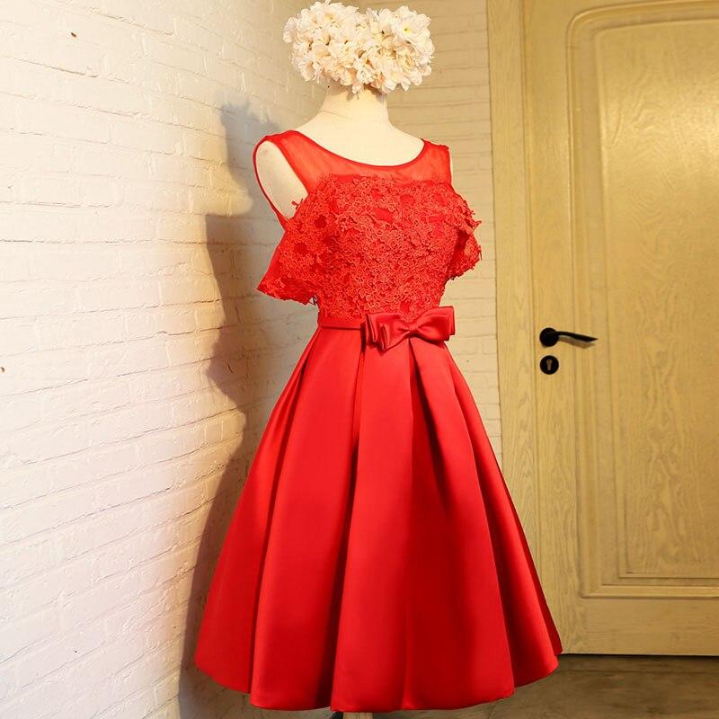 Aswomoye Elegant Short Evening Dress 2018 New Stylish Illusion O-Neck Wedding Party Dress Sleeveless with Bow robe de soiree 4