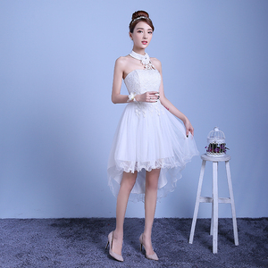 Image 3 - ZX D48BS #2019 nieuwe zomer korte lang voordat na shortparagraph bruid bruidsmeisje jurken trouwjurk meisjes vrouwelijke toast Wit