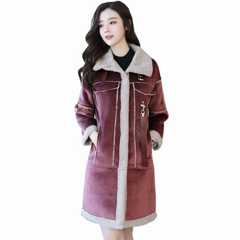 Lamb Wool Outwear Buckskin long jacket 2018 women's Thicken Wool Cotton Jacket Coat Lamb fur coat deerskin   leather   jacket QH1076