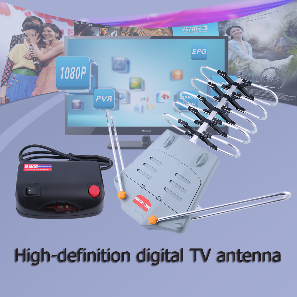 150 Miles HDTV Outdoor Amplified Aerial HD TV 36dB Rotor Remote 360 Degree Low Noise and High Gain AmplifierFree shipping|Aerials| |  - title=