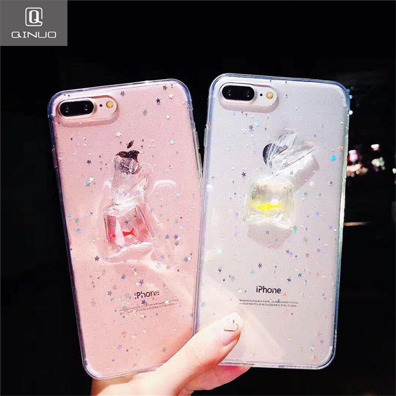 Detail Feedback Questions about QINUO Cute Goldfish Transparent Phone Case  For iPhone 6 6S 7 8 Clear TPU Silicone Back Cover For iPhone 7 Plus 8 X  Glitter ... 48bb17928b65