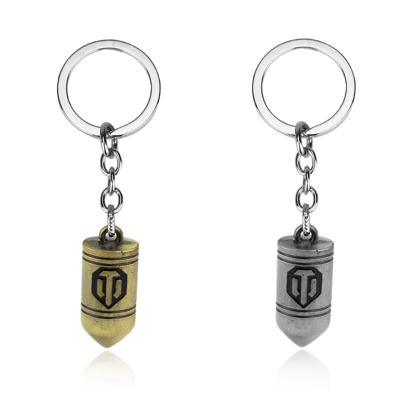 Classic Game World Of Tanks Bullet Key High Quality Metal Tank Logo Key Rings For Gift Chaveiro Key Chain Jewelry Dropshipping